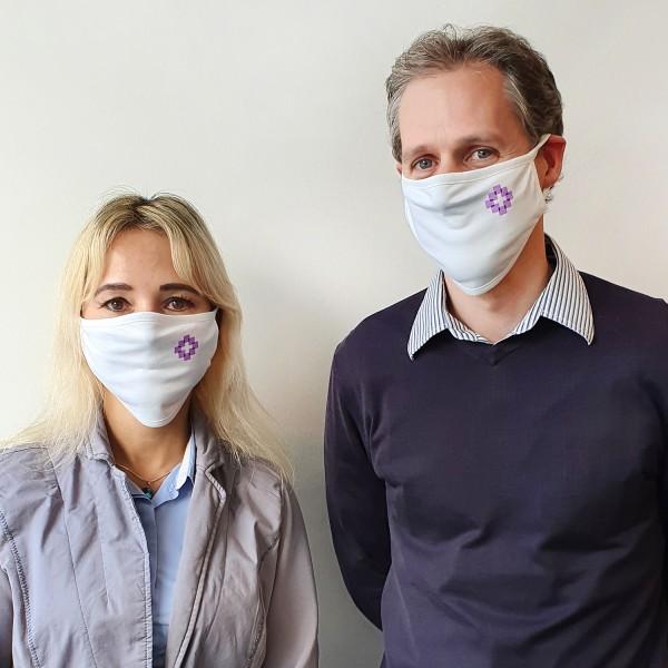 Mund-Nasen-Bedeckung mit Facettenkreuz (10er Packung)